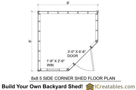 8x8 shed floor plans 8x8 5 sided corner shed plans