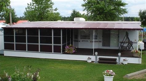 trailer deck enclosure system trailer mounted screen rooms  canada