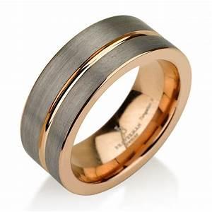 black gunmetal tungsten ring rose gold wedding band ring With black tungsten ring rose gold wedding band