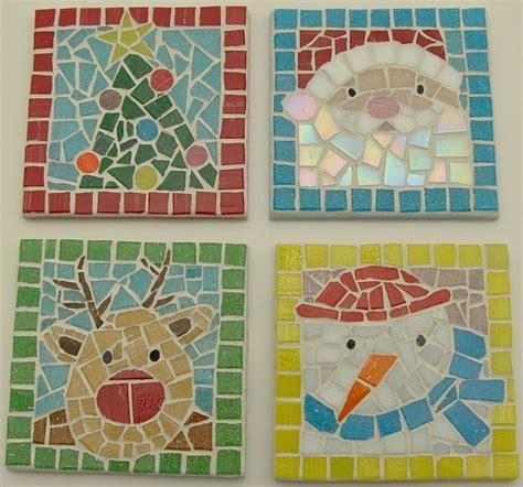 christmas coasters mosaic tile  mosaic tile projects