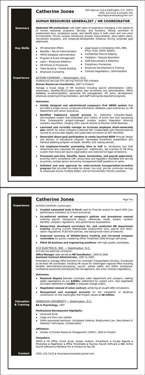 hr generalist sample resume resumepowerresumepower