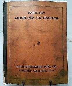 Allis Chalmers Model Hd 11g Tractor Parts List Catalog