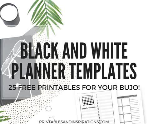 bullet journal printables black  white templates