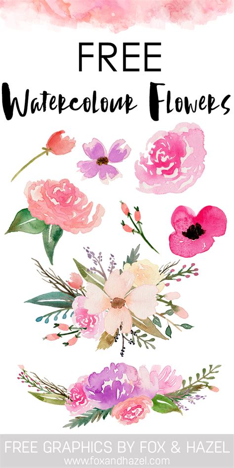 free watercolor clipart free watercolor flower graphics from fox hazel