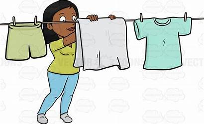 Laundry Clipart Dry Hanging Drying Woman Clipground