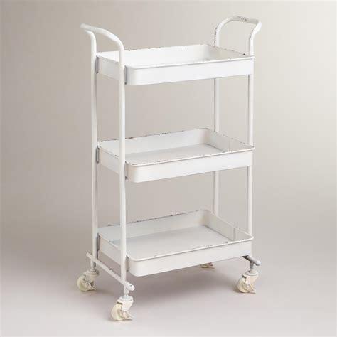 bathroom carts white austin 3 tier metal cart world market