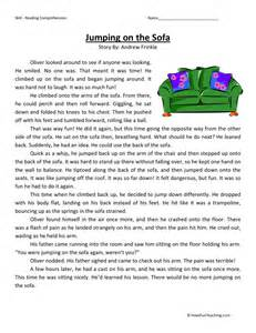 free third grade reading comprehension reading comprehension worksheet jumping on the sofa