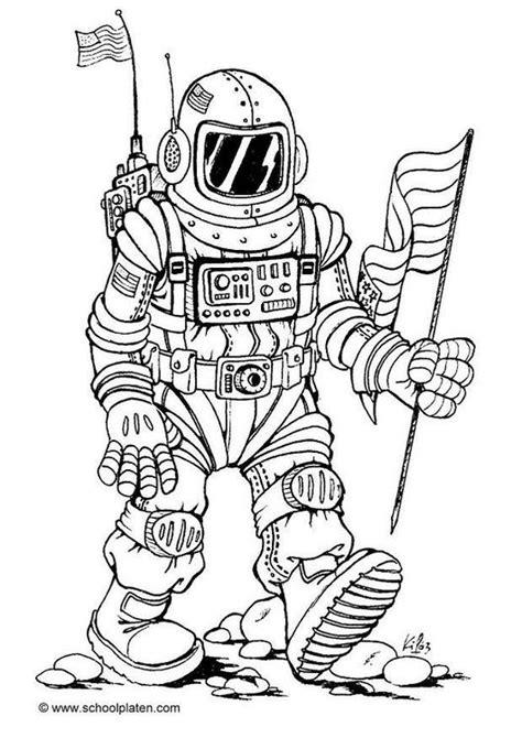 coloring page astronaut img  ruimte thema de ruimte knutselen kleurplaten