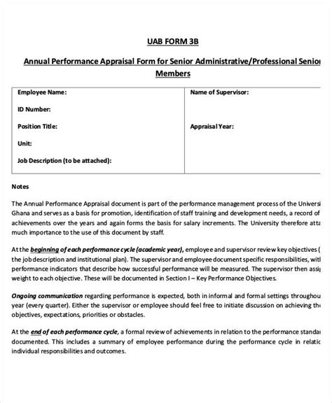 6 annual performance appraisal form free sle exle format