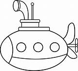 Submarine Coloring Cute Clip Line Sweetclipart sketch template
