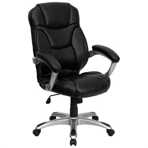 high back black leather contemporary office chair go 725