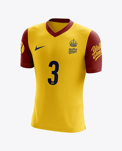 Cuffed soccer cleats mockup (half side view) by alex tsepelev in apparel mockups. Men's Soccer V-Neck Jersey mockup (Half Side View) in ...