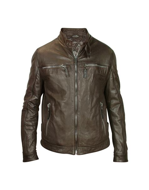 motorcycle jackets for men forzieri men 39 s dark brown leather motorcycle jacket in