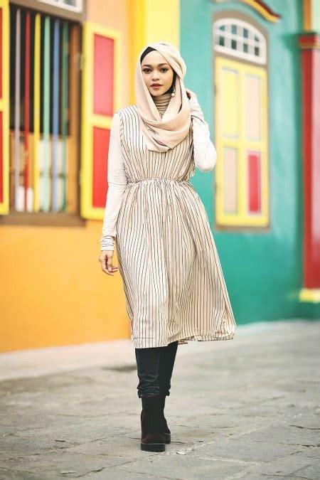 hijab sopan  mini dress  triknya lho