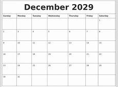 December 2029 Calendar