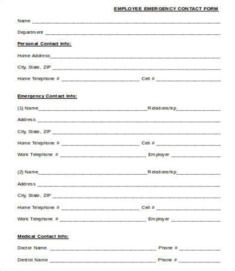 Contact Form Template Emergency Contact Form Template Word Hunecompany