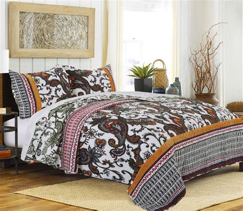Gold Coverlet by Paisley Tribal Motif Quilt Set Teal Gold Crimson