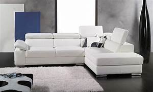 Salon Cuir Blanc : canape d angle cuir salon oviedo blanc canape cuir blanc 5 places 280x230x96 ~ Teatrodelosmanantiales.com Idées de Décoration