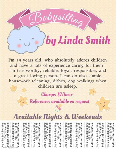 modèle annonce baby sitting word babysitting template with tabs postermywall