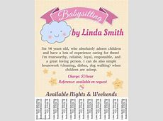 Babysitting Template with Tabs PosterMyWall