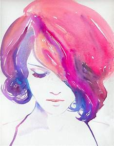 WATERCOLOR,GIRL,PINK,HAIR,PAINTING, | A CREATIVE UNIVERSE ...