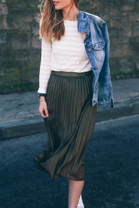Gold Pleated Midi Skirt and Sneakers
