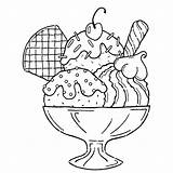 Ice Cream Coloring Pages Sundae Printable Cone sketch template