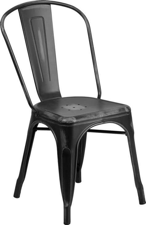 distressed black metal indoor outdoor stackable chair