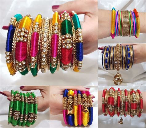 Indian Bangles Jewellery Silk Thread Wrapped Designer. Ruby Bands. Basketball Pendant. Chew Rings. Palace Rings