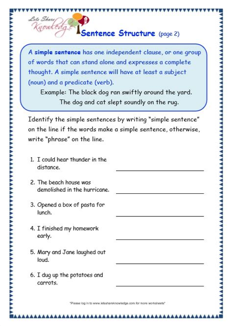 pattern worksheets 187 sentence pattern worksheets answers