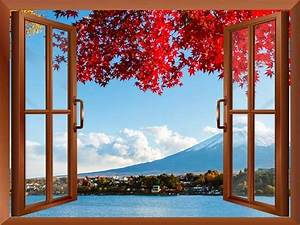 Window Looking Out Into a Red Tree that Frames Mount Fuji