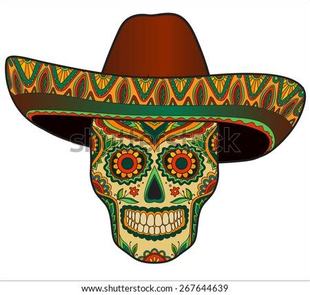 traditional mexican scull  sombrero vector scull  mexican hat mexican ornament stock