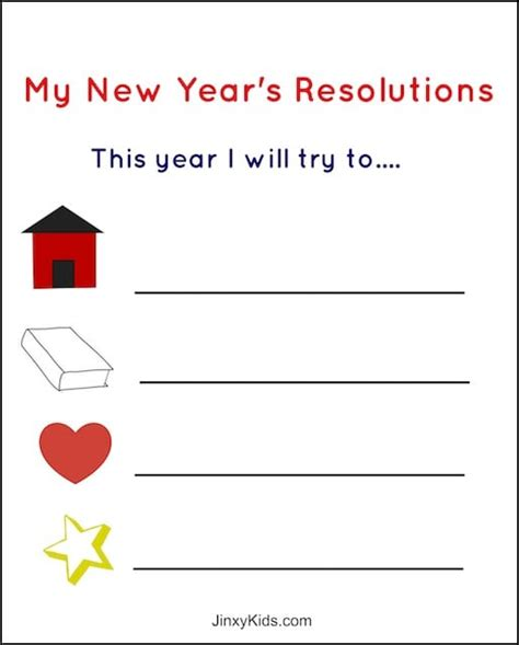 Free Printable New Year's Resolutions Activity Sheet For Kids  Jinxy Kids