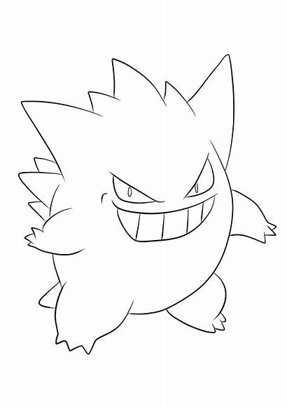 Pokemon Gengar Coloring Pages Ghost Type Generation