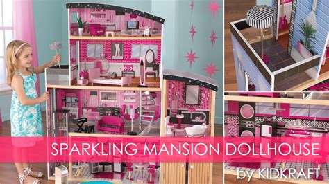 girls pink sparkle mansion dollhouse toy review youtube