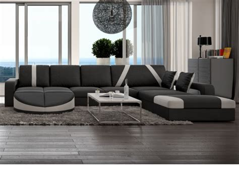 site vente canapé canapé d 39 angle droit en simili noir blanc mintika