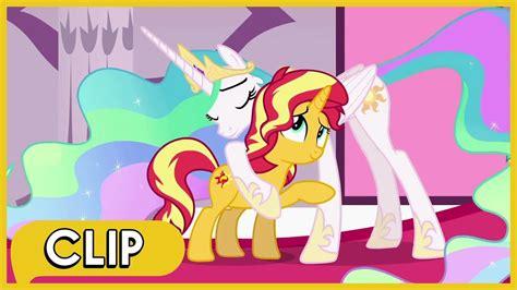 sunset shimmer reunites  princess celestia mlp equestria girls forgotten friendship