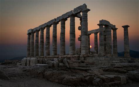 wallpapers sounion temple  poseidon sunset