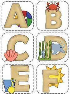 ocean beach theme word wall letters and alphabet line With beach themed letters