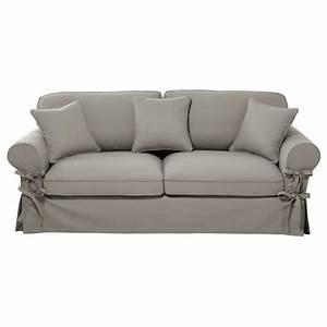 Lit 4 Places : canap lit 3 4 places en coton gris clair matelas 12 cm maisons du monde ~ Teatrodelosmanantiales.com Idées de Décoration