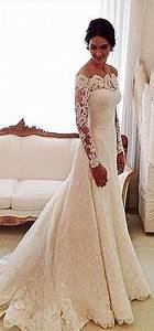 mermaid long sleeve lace wedding dresses 2015 boat neck With boat neck lace wedding dress
