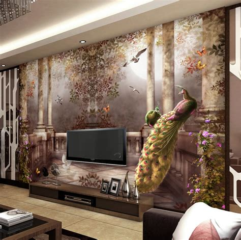 3d Wallpapers For Walls by 3d Wallpaper For Walls Peacock Wall Mural Rococo Style