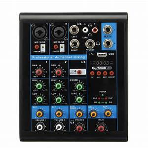 4 Channel Usb Bluetooth Audio Mixer Sound Card Mixing