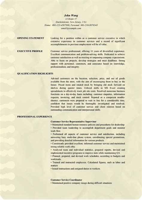 professional customer service executive resume examples