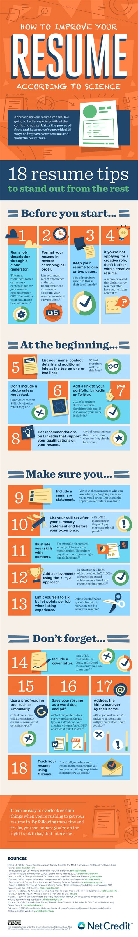 How To Improve Your Resume by How To Improve Your Resume According To Science Visual Ly