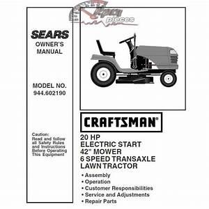 Craftsman Tractor Parts Manual 944 602190