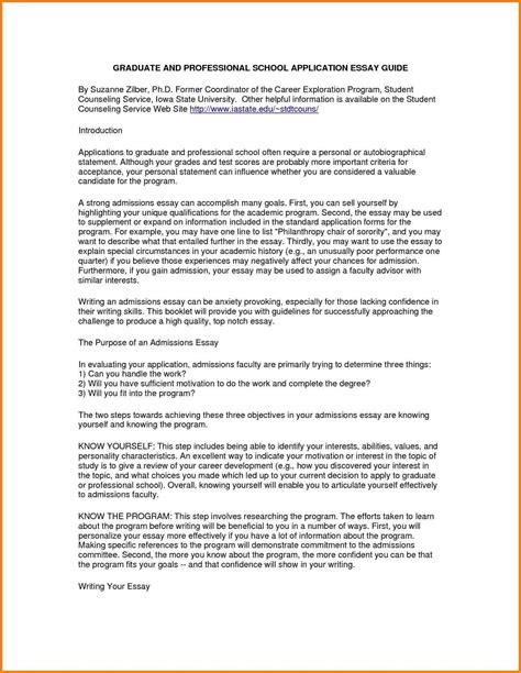 Personal Statement Sle by Personal Statement Graduate School Sle Essays School Application Essay Sle 28 Images 5
