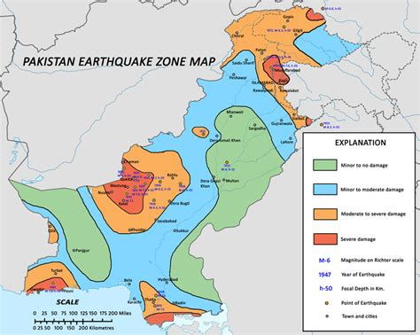 Sinking Borough Zoning Map by History Of Earthquakes In Pakistan In Detail Pakistan