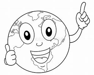 Coloring Cartoon Planet Earth Character Stock Vector ...