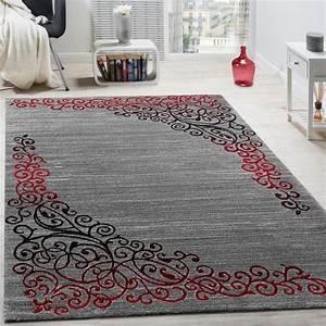 Teppich Rot Grau : designer teppich mit floral muster glitzergarn rot grau anthrazit meliert wohn und schlafbereich ~ Whattoseeinmadrid.com Haus und Dekorationen